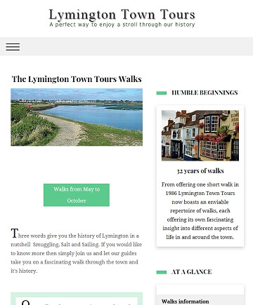 Historical and tourist information website for Lymington Town Tours by Cyber Team